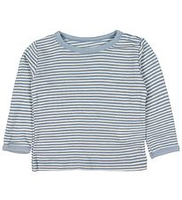 Fixoni Long Sleeve Top - Joy - Wool/Silk - Dusty Blue/Striped