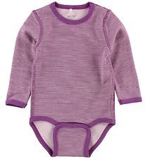 Me Too Bodysuit l/s - Wool/Bamboo - Purple w. Stripes