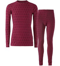 Reima Baselayer - Taival - Wool - Cranberry Pink/Trees