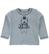 Fixoni Long Sleeve Top - Joy - Blue w. Bear