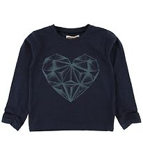Small Rags Long Sleeve Top - Navy w. Heart