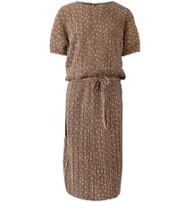 Hound Dress - Pleated - Light Brown/Dots