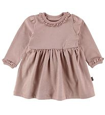 Little Wonders Bodysuit w. Skirt l/s - Dust Rose w. Silver Dots