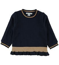 MP Blouse - Navy/Gold w. Ruffle