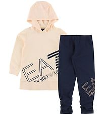 EA7 Set - Hoodie/Leggings - Navy/Powder