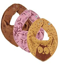 Pippi Teething Bibs - 3-pack - Rose/Yellow/Brown