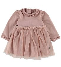 Little Wonders Bodysuit w. Skirt l/s - Dusty Rose w. Silver Dots