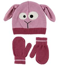 Color Kids Hat w. Mittens - Samuel Mini - Light Pink