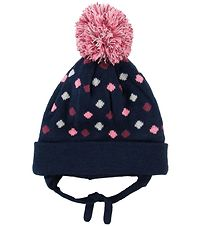 Color Kids Hat w. Pom-Pom - Double Layer - Sheldon Mini - Navy