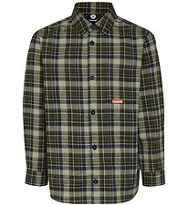 Hummel Shirt - Viggo - Army Green/Navy w. Check