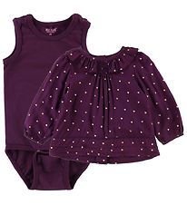 Me Too Blouse w. Bodysuit - Plum Purple w. Heart