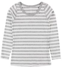 Say-So Long Sleeve Top - Grey Melange/White Stripes