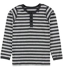 Say-So Long Sleeve Top w. Buttons - Grey Stripes