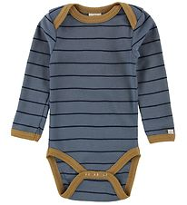 Smallstuff Bodysuit l/s - Dusty Blue w. Stripes