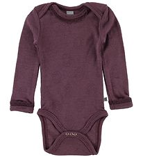 Smallstuff Bodysuit l/s - Wool - Dark Rose w. Pointelle