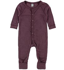 Smallstuff Nightsuit - Wool - Dark Rose w. Pointelle