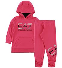EA7 Set - Hoodie/Leggings - Bright Rose w. Logo/Silver