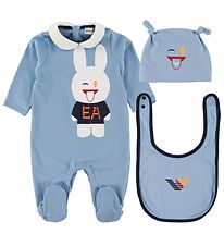 Emporio Armani Gift Box - Jumpsuit/Bib/Beanie - Light Blue