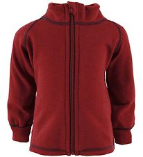 Engel Zip Cardigan - Wool - Red Melange