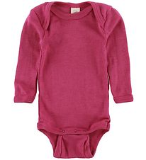 Engel Bodysuit l/s - Wool/Silk - Raspberry