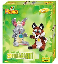 Hama Midi Set - 2500 Beads - 3D - Fox & Rabbit