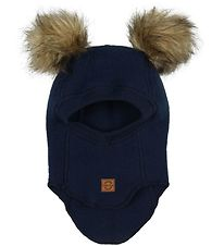 Mikk-Line Balaclava - Wool - Blue Nights w. Pompoms
