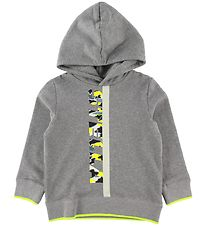 Stella McCartney Kids Hoodie - Grey Melange/Neon Yellow w. Camo