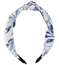 Lehof Hairband - Maria - White w. Blue Leaves