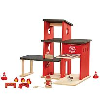 PlanToys Fire Station - Red/Black