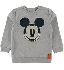 Wheat Disney Sweatshirt - Mickey Face Terry - Grey Melange