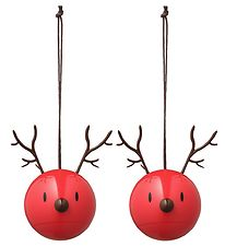 Hoptimist Christmas Ornament - Reindeer - 2-pack - D:5 cm - Red