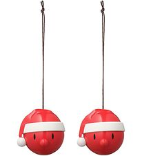 Hoptimist Christmas Ornament - Santa - 2-pack - D:5 cm - Red