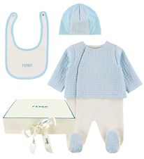 Fendi Gift Box - Jumpsuit/Beanie/Bib - Light Blue w. Logo