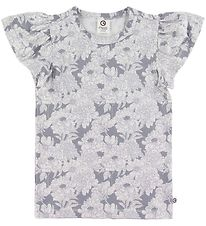 Müsli T-shirt - Blooming Butterfly - Grey w. Floral Print