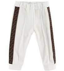 Fendi Trousers - White w. Logo Stripe