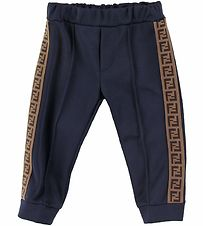 Fendi Trousers - Navy w. Logo Stripe