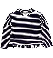 Tommy Hilfiger Long Sleeve Top - Ruffle - Navy/White Striped