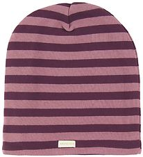 Racing Kids Beanie - 2-Layers  - Plum/Purple Striped