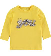 Name It Long Sleeve Top - NbfFlavia - Aspen Gold w. Flowers