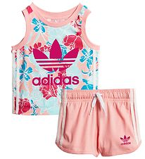 adidas Originals Set - Tanktop/Shorts - Glow Pink w. Flowers