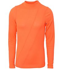 Hound Long Sleeve Top w. Turtleneck - Rib - Neon Orange