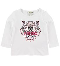 Kenzo Long Sleeve Top - Tiger BG 5 - White w. Print