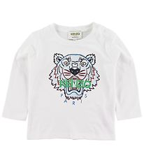 Kenzo Long Sleeve Top - Tiger BB 2 - White w. Print