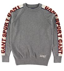 GANT Sweatshirt - Wool/Cotton - Knitted - Grey Melange w. Logo S