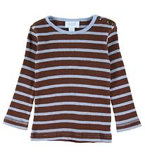 Noa Noa Miniature Long Sleeve Top - Rib - Brown/Blue Stripes