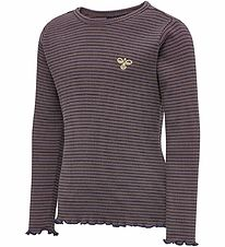 Hummel Long Sleeve Top - HmlCarol - Purple w. Stripes
