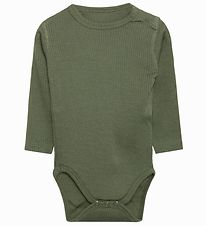 Hust and Claire Bodysuit l/s - Berry - Wool/Bamboo - Green