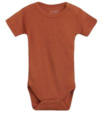 Hust and Claire Bodysuit s/s - Bet - Wool/Bamboo - Burnt Orange