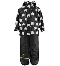 CeLaVi Rainwear - PU - Black w. White Elephants
