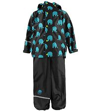 CeLavi Rainwear - PU - Black w. Turquoise Elephants